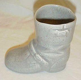 Vintage ceramic biker boot, gray with speckle glaze
