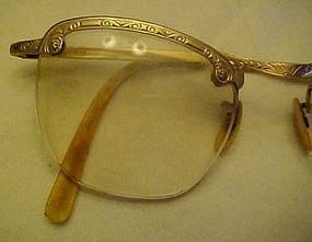 Vintage 12K gold filled semi eye glasses frames