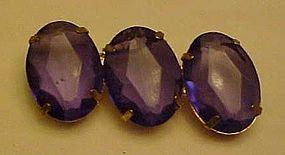 Vintage Purple triple rhiestone pin  LARGE OVALS