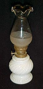 """Vintage milk glass oil lamp and ruffled chimney 8"""" tall"""