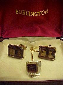 Vintage Smoky topaz cuff links & tie tac set gold cups