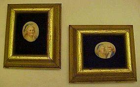 Mini framed porcelain portraits George & Martha