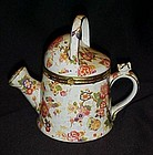 Large chintz watering can trinket box with hinged lid