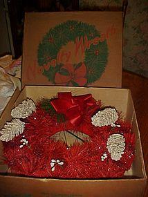 Original red  bottlebrush Perma Wreath  in original box