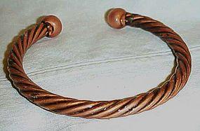 Vintage solid copper twist bracelet