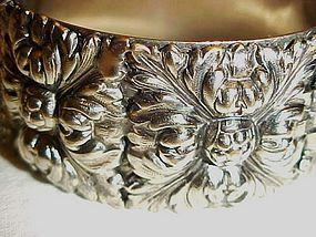 Vintage silver tone clamp bracelet  very ornate