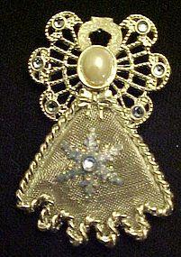 Silver tone mesh and rhinestone Angel pin