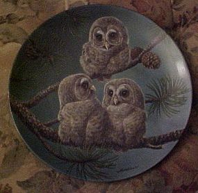 Knowles  Whoo's There Barred owls 8th plate