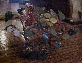 Vintage Jade and stone bonsai tree in Jade pot