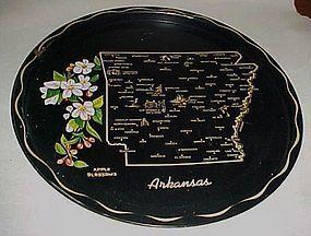 Black metal souvenir Arkansas state plate