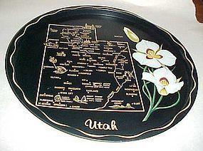 Black metal souvenir Utah state plate tray