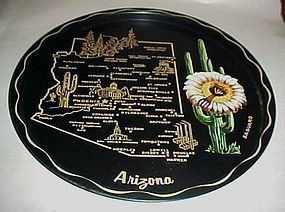 Black metal souvenir Arizona state plate tray