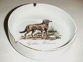Vintage Golden Retriever porcelain ash tray