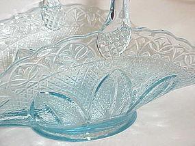 Princess House ice blue brides basket by Fenton