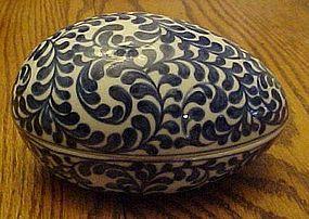 Vintage blue and white porcelain egg shape box