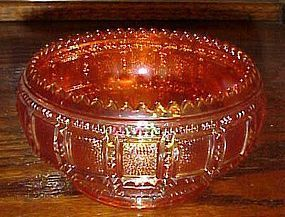 Imperial Beaded Block marigold carnival glass lily bowl