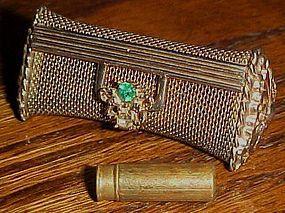 Vintage goldtone mesh lipstick purse with rhinestones