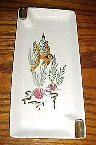 Large Vintage Lefton Ashray with koi fish and seaweed