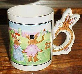 Peter Rabbit scene bunny rabbit handle mug