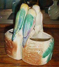 Pair of Morton pottery parrot lovebirds wall pockets