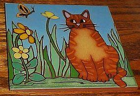 """Custom handmade Garden Kitty cat ceramic 6"""" tile trivet"""