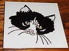 """Custom handmade ceramic 6"""" tile black and white cat"""