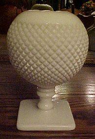 Westmoreland English hobnail milk glass footed ivy vase