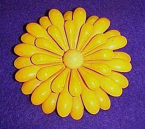 """Large Vintage enamel yellow flower pin 3"""""""