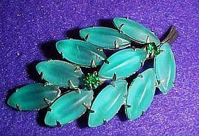 Vintage aqua frosted leaf pin