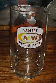 A W Family Restaurant Rootbeer promo glass with bear