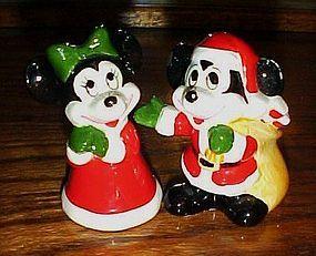 Disney Mickey and Minnie dressed as Santa Shakers