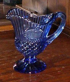 Avon Fostoria glass cobalt blue Mt. Vernon pitcher