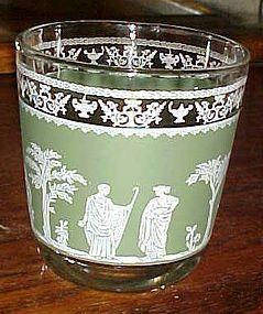 Jeanette Hellenic green Jasperware old fashioned glass