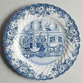 """Johnson Brothers Blue Coaching Scenes salad plate 7"""""""