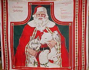 Uncut Christmas Craft Apron panel  Santa and animals