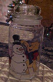 Anchor Hocking Winnie the Pooh Piglet snowman jar