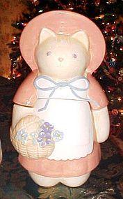 Treasure Craft country Kitty cat cookie jar  w/ flowers