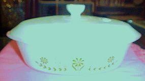 GlasBake green daisy 1 qt oval covered casserole dish