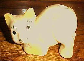 1930's porcelain kitty cat toothbrush holder yellow