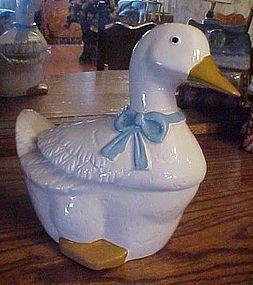 Cute little white duck ceramic cookie jar
