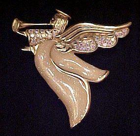 Large lovely enameled angel pin with rhinestones