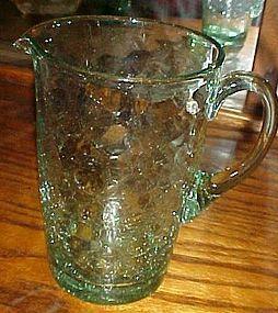 """Hand blown  lt green crackle glass water pitcher 6 3/4"""""""