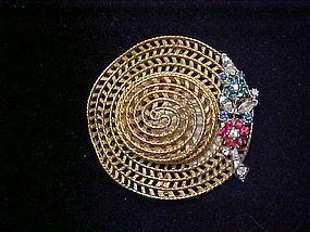 Signed Ciner filigree floppy hat brooch pin rhinestones