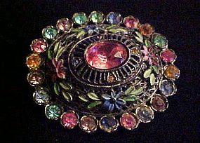 Antique rhinestone enamel flower brooch Little Nemo