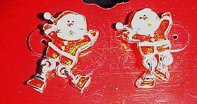 Cute enamel Santa post earrings with dangle legs