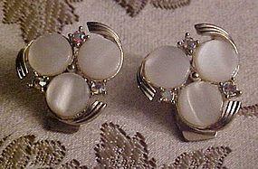 Vintage Judy Lee white moonglow clip earrings