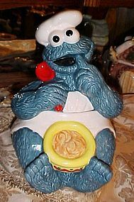 Enesco Cookie monster with bowl and spoon Cookie jar