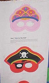 Uncut fabric sewing panel 3 Halloween masks with bags