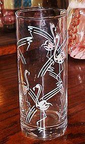Vintage Panache Flamingo's 6 3/8 drinking glass