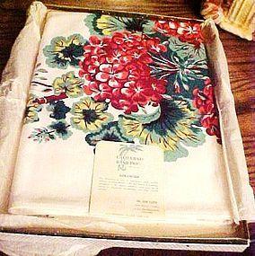 Vintage California prints geranium table cloth MIB